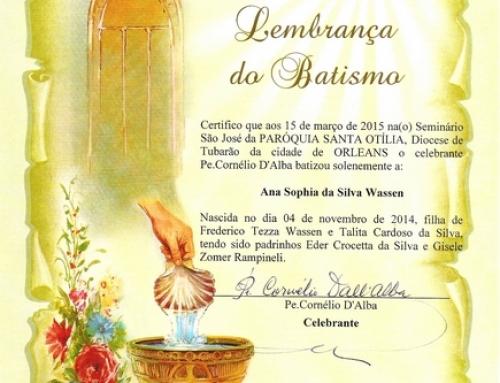Lembranças de Batismo.